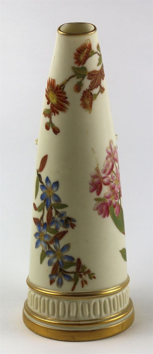 Royal Worcester Porcelain Hand Painted Horn Pitcher