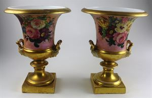 Old Paris Neo-Classical Hand Painted Campana Vase, Pair, c. 1810-20