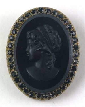 Black Cameo Brooch Framed in Rhinestones