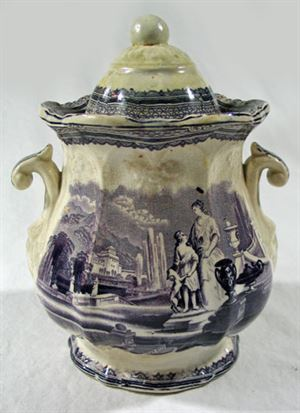 Purple Transferware Staffordshire Jar with Lid